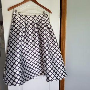 Black and white geometric patterned midi